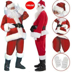 7PCs Adult Santa Claus Costume Set Father Christmas Suit Fancy Dress Outfit Gift