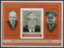 Manama 1972 ** Bl.93 B Politiker politicians Churchill Roosevelt Eisenhower