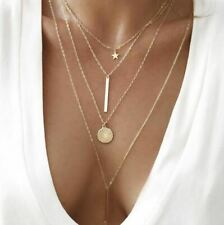 Multilayer Star Bar Coin Necklace