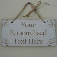 Personalised Wooden Sign Shabby Chic Wedding Plaque Family Custom Text Home Gift