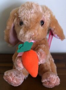 RUSS Berrie Brown Bunny Rabbit Soft Plush Toy With Carrot Small Called Hoppity