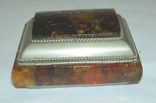 Baltic Cognac Amber Silver Tone Trinket Box Suede Leather Lining 137.2 Grams