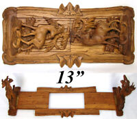 Antique Black Forest Carved Telescoping Book Rack, Chamois & Ibex Deer Figures