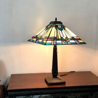 "Tiffany Style 24"" Tall Mission Design Stained Glass Table Lamp 16"" Shade"