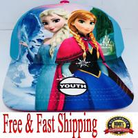 Disney Cap Youth Baseball Hat Frozen Sisters Anna Elsa, Blue Original