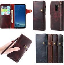 Samsung S9 Plus Note 8 iPhone X 8 Housses étuis Rétro Flip Cuir Véritable Coques