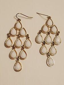 Golden Chandelier Drop White Faceted Stone Earrings Hook Pierced