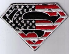 SUPERMAN LOGO US FLAG RED AND WHITE PATCH IRON ON OR SEW ON