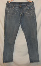 Ashley Stewart Women's Distressed Jeans cotton Polyester Spandex w/Rhinstoned fr