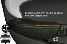 Puntada Amarillo 2X puerta trasera cubre Apoyabrazos Cuero adapta BMW Mini Cooper 14-17 F55