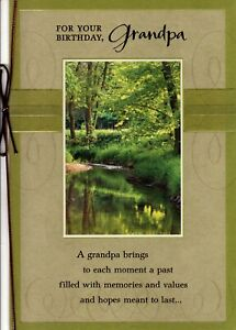 Happy Birthday Grandfather Leaves Nature Forest River Woods Theme Hallmark Card