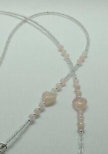 Rose Quartz Gemstone Beads Rose Hearts Beaded Handmade Glasses Spectacles Chain