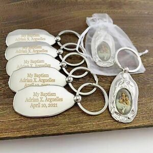 Personalized Baptism Favor (12 PCS) Engraved Baby Angel Keychain Metal key ring