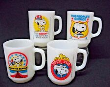 LOT 4 SNOOPY presidential FIRE KING mugs 1980 COMPLETE set