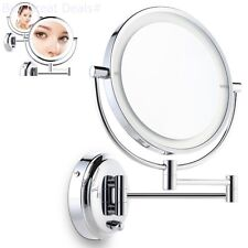 Miusco 7X Lighted Magnifying Double Side Adjustable Makeup Mirror, Wall-Mounted