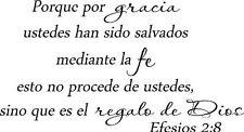 Efesios 2:8, Bible verse wall decals, scripture, Vinyl Art, stickers, spanish