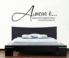 """WALL STICKERS ADESIVI MURALI """" AMORE E' """" Vita Famiglia casa adesivo love parete"""
