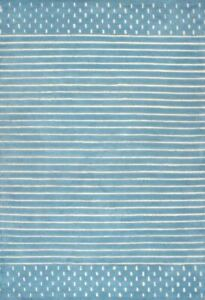 Morse Awining Stripes Baby Blue Hand-Tufted 100% Wool Soft Area Rug Carpet.