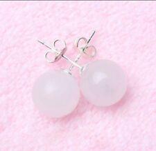 Natural 10mm Round White Jade Gem Bead 925 Silver Stud Earrings PE170