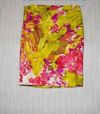 NWT J.CREW Cotton Multi-Color Red Yellow Green Print Pencil Skirt Size:00
