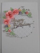 Personalised Handmade Birthday/Silver Anniversary/Wedding Card Flowers in Pinks