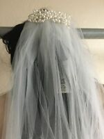 Davids Bridal One Tier Cathedral Veil with Pearl Comb Ivory GR002 NWT $129