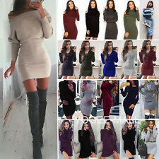 Damen Langarm Bodycon Strickkleid Pullikleid Pullover Party Abendkleid Minikleid