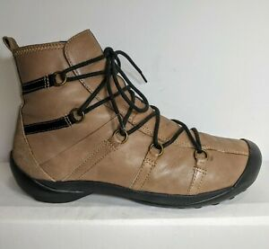 Wolky Tan Golda Leather Ankle Lace-Up Rubber Toe Guard Booties Women's 10 41