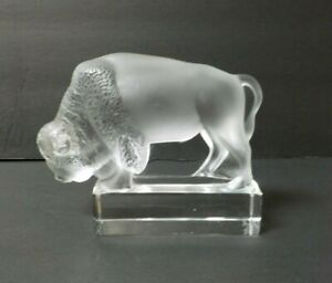 Lalique Frosted Crystal BISON Buffalo Paperweight Figure - Retired