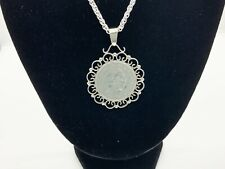 More details for amazing 1914, 1 silver korona piece in fixed silver filigree mount pendant