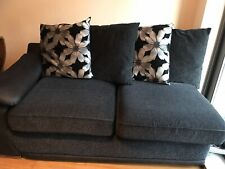 LARGE PIONEER CORNER SOFA GREY BLACK LEATHER & CHARCOAL CHENILLE FABRIC  SALE!