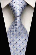 PT0516 Blue White Stripe Classic Silk Jacquard Woven Man Casual Tie Necktie