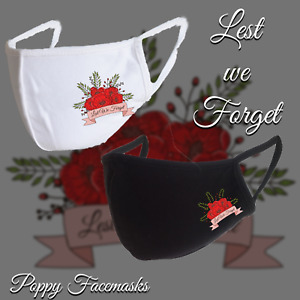 POPPY FACE MASK Lest We Forget Remembrance Day Reusable Washable UK