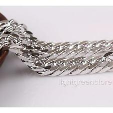 Chunky 18K White Gold Filled Huge Mens Necklace Double Cuban Curb Chain Jewelry