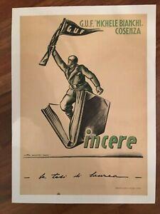 manifesto poster 1941 G.U.F. MICHELE BIANCHI COSENZA VINCERE GUERRA FASCISMO