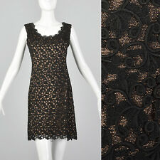 S 1960s Bronze Lurex Dress Black Lace Overlay Sleeveless Cocktail Party NYE 60s