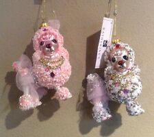 Katherine's Collection Set Of 2 Glass Jeweled Pink Fifi Poodle Dog Ornaments New