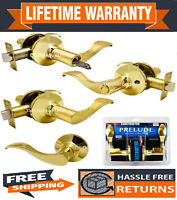 Constructor Prelude Polished Brass Lever Door Lock Entry Privacy Passage Dummy