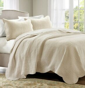 TUSCANY IVORY MATELASSE 3pc King QUILT SET : COTTAGE COVERLET CREAM TILE BEDDING