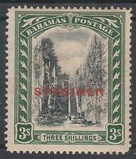 BAHAMAS 1921 QUEEN'S STAIRCASE SPECIMEN 3/- WMK MULTI SCRIPT CA NO GUM