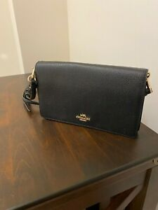 Coach Leather Foldover Cross Body Bag, Black- RRP £195