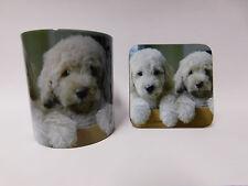 Cream Labradoodle Puppy Dog Mug and Coaster Set