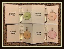 4 x CHANEL CHANCE: Chance EDP, Tendre, Eau Fraiche & Eau Vive 2ml Travel Samles
