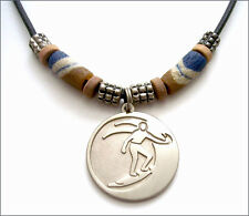 Surfer Pendant in bright silver plate finish with leather cord and surf beads
