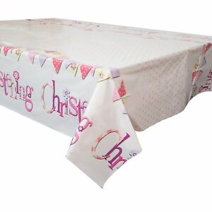 Plastic Pink Bunting Christening Tablecloth, 7ft x 4.5ft