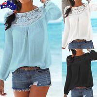 AU Womens Lace Patchwork Tops Blouse Ladies Long Sleeve T-Shirt Tee Plus Size