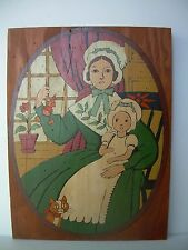 VTG FOLK ART WOOD PLAQUE~FAMILY SCENE~EARLY AMERICAN~16 X 12 X 1/4~INTERESTING