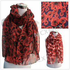 Poppy Scarf  Red Floral Print Flower Scarf Wrap