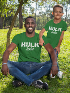 """Dirty Fingers Father & Child Pair of T-shirts """"Hulk Senior and Junior"""" Gift Set"""