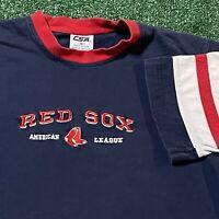 Boston Red Sox T Shirt Mens Medium Adult Blue MLB Baseball Ringer Tee USA